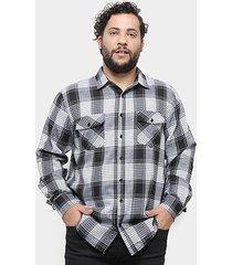 camisa delkor manga longa xadrez plus size masculina