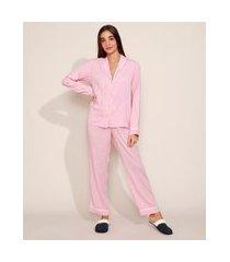 calça de pijama feminina com vivo contrastante e laço rosa
