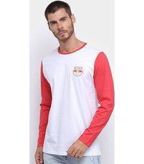 camiseta manga longa red bull soccer raglan masculina - masculino