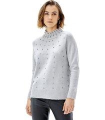 sweater brillos i mujer gris melange corona