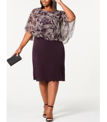 connected trendy plus size floral chiffon overlay dress