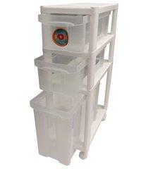 gaveteiro de chão com 3 gavetas log branco e transparente