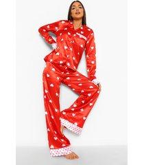 valentijns contrasterende satijnen hartjes pyjama, red