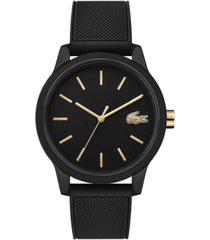 lacoste men's 12.12 black rubber strap watch 42mm