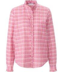 blouse lange mouwen en ruitdessin van peter hahn roze