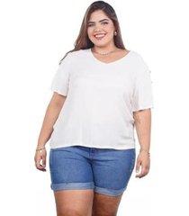 blusa ampla manga curta plus feminina - feminino