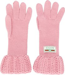 gucci chunky knit gloves - pink