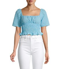 bcbgeneration women's checked smocked cropped top - blue combo - size s