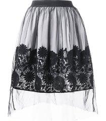 high waist lace applique mesh overlap skirt