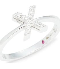 18k white gold, ruby & diamond pavé ring