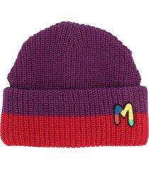 m missoni embroidered logo beanie - purple
