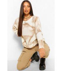 tall tie dye knitted sweater, tan