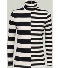summum 3s4437-30198 976 top turtleneck cotton lyocell ea stripe black-shell