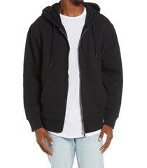 men's topman front zip hoodie, size xx-large - black