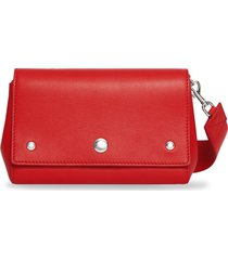 burberry quote print crossbody bag - bright military red
