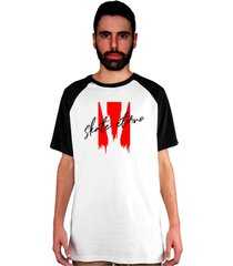 camiseta manga curta raglan skate eterno blood branca/preto - kanui