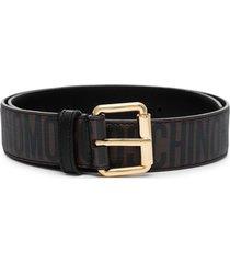 moschino logo-print buckle belt - black
