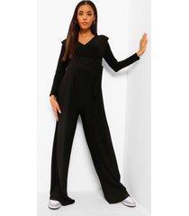 zwangerschaps wide leg jumpsuit met schouderpads, black