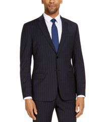 armani exchange men's slim-fit navy blue pinstripe wool suit jacket, created for macy's