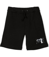 paolo pecora black cotton track shorts