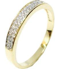 anel kumbayá meia aliança semijoia banho de ouro 18k cravação de zircônia incolor detalhe em ródio
