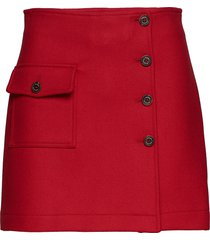 wool school skort, 6 kort kjol röd tommy hilfiger