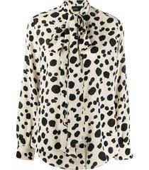 aspesi dalmatian spot pussy bow silk blouse - neutrals