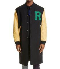 men's raf simons leather sleeve long wool bomber jacket, size 36 us - black