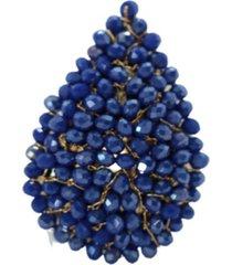 anillo gota baño en oro azul bijulovers