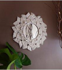 lustro makrama basic flower - białe