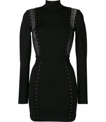 balmain studded mesh panelled dress - black