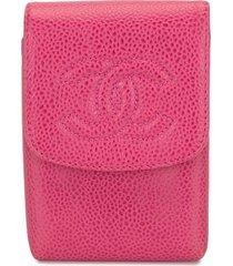 chanel pre-owned 1997 cc logo cigarette case - pink