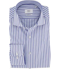 overhemd eterna blauw wit gestreept modern fit