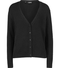 cardigan boyfriend in maglia a coste (nero) - bpc bonprix collection
