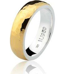 aliança mista ouro 18k e prata 925 natalia joias alm-199