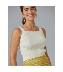 amaro feminino regata tricot decote quadrado, off-white