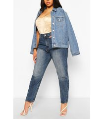plus high rise mom jeans, mid blue