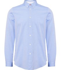 ps by paul smith sky blue tailored-fit cotton-linen slub button-down shirt ptzd-071r-823-41
