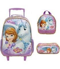 kit mochila xeryus princesa sofia de rodinhas com lancheira e estojo