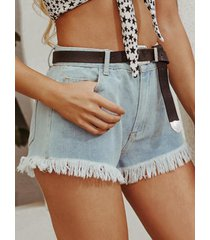 shorts de mezclilla con dobladillo con borlas de cintura alta