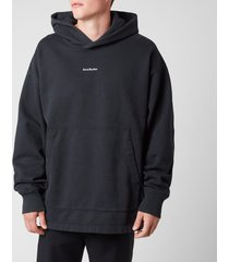 acne studios men's reverse logo hooded sweatshirt - black - s