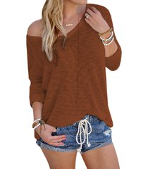 coffee sexy v neck long sleeves knitted t-shirt