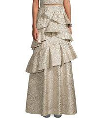 alice + olivia women's flossie tiered ruffle skirt - cream - size 0