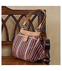 leather accented wool blend shoulder bag, 'andean journey' (peru)