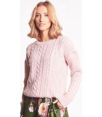 różowy sweter jenna warkocz