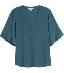 women's chelsea28 ruffle sleeve v-neck top, size medium - blue/green