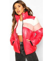 colour block puffer jacket, red
