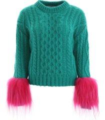 prada pullover with fur
