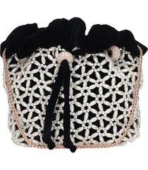 sophia webster emmie pearl shoulder bag in black velvet