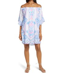 women's lilly pulitzer fawna off the shoulder dress, size medium - white